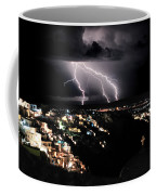 Lightning During A Thunderstorm On The Island Of Santorini, Greece Coffee Mug