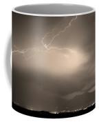 Lightning Strikes Over Boulder Colorado Sepia Coffee Mug