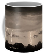 Lightning Thunderstorm July 12 2011 Strikes Over The City Sepia Coffee Mug