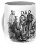 Lincoln And His Generals Black And White Coffee Mug by War Is Hell Store