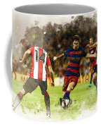 Lionel Messi Challenges The Athletic Bilbao Defense Coffee Mug