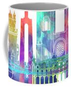 Lisbon Landmarks Watercolor Poster Coffee Mug