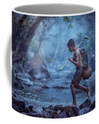 Little Asian Kid Fishing In The River Countryside Thailand. Coffee Mug