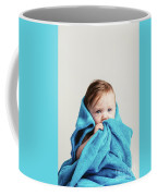 Little Baby Girl Tucked In A Cozy Blue Blanket. Coffee Mug