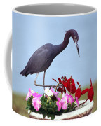Little Blue Heron In Flower Pot Coffee Mug