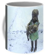 Little Girl With A Puppy In Her Arms. Coffee Mug