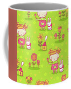 Little Girl With Her Rabbit On A Green Field Coffee Mug