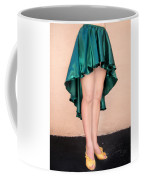 Ameynra Fashion Satin High Low Skirt, Dark-green Coffee Mug