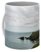 Little Red Sailboat Approaching Dunnottar Castle Scotland Coffee Mug