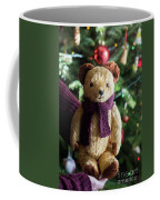 Little Sweet Teddy Bear With Knitted Scarf Under The Christmas Tree Coffee Mug