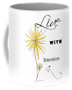 Live With Intention Flower Inspirational Print And Quote By Megan Duncanson Coffee Mug