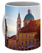 Ljubljana Church And Square Sunset View Coffee Mug
