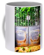 Locked Gate With Trees Coffee Mug
