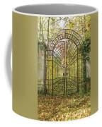 Locked Iron Gate In The Autumn Park.  Coffee Mug