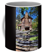 Log Cabin And Wooden Fence At Ninety Six National Historic Site 2 Coffee Mug