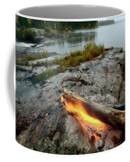 Log On Fire Manitoba Lake Wilderness Coffee Mug