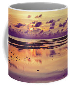 Lone Fisherman In Distance During Beautiful Reflected Sunset With Dramatic Clouds In Maldives Coffee Mug