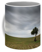 Lonely Olive Tree With Moving Clouds Coffee Mug