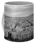Looking Down On Barcelona From The Sagrada Familia Black And White Coffee Mug