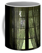 Looking Out The Window Of A Log Cabin Coffee Mug