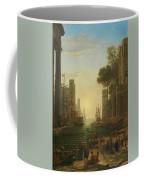 Lorena, Claudio De Chamagne, 1600 - Roma, 1682 The Embarkation Of Saint Paula Ca. 1639. Coffee Mug