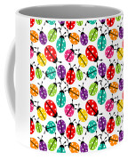Lots Of Crayon Colored Ladybugs Coffee Mug