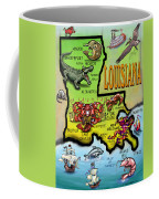 Louisiana Cartoon Map Coffee Mug