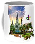 Louisiana Map - St Louis Cathedral Coffee Mug