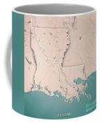 Louisiana State Usa 3d Render Topographic Map Neutral Border Coffee Mug