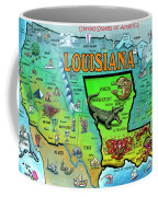Louisiana Usa Cartoon Map Coffee Mug