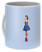 Lovable Eighties Female Pin-up In Denim Dress Coffee Mug