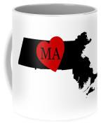 Love Massachusetts Black Coffee Mug