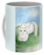 Lovely Kitty. White Cat Kusyaka Coffee Mug