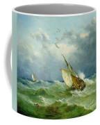 Lowestoft Trawler In Rough Weather Coffee Mug by John Moore