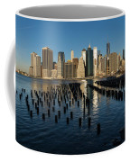 Luminous Blue Silver And Gold - Manhattan Skyline And East River Coffee Mug