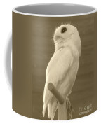 Luna The Rescued White Leucistic Eastern Screech Owl In Sepia Coffee Mug