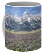 Lupine And Grand Tetons Coffee Mug by Sandra Bronstein