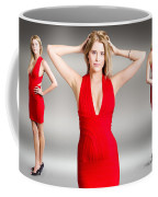 Luxury Female Fashion Model In Classy Red Dress Coffee Mug
