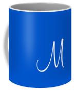 M In White Simple Script Coffee Mug