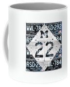 M22 Michigan Highway Symbol Recycled Vintage Great Lakes State License Plate Logo Art Coffee Mug by Design Turnpike