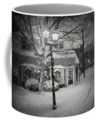 Mablehead Market Square Snowstorm Old Town Evening Black And White Painterly Coffee Mug