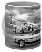 Mach 1 Mustang With P51 In Black And White Coffee Mug