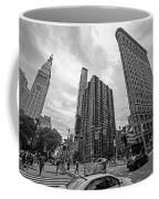 Madison Square Flatiron And Clock Tower New York Ny Black And White Coffee Mug