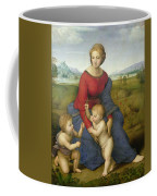 Madonna In The Meadow Coffee Mug by Raphael