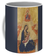 Madonna Of Humility The Blessing Christ Two Angels And A Donor Coffee Mug