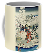 Maids In A Snow Covered Garden Coffee Mug by Hiroshige