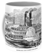 Mail Steamboat, 1854. /nthe Louisville Mail Company Steamboat Jacob Strader. Wood Engraving, 1854 Coffee Mug