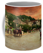 Main Street Mackinac Island Michigan Panorama Textured Coffee Mug