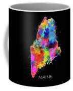 Maine Map Color Splatter 2 Coffee Mug