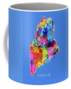 Maine Map Color Splatter 3 Coffee Mug